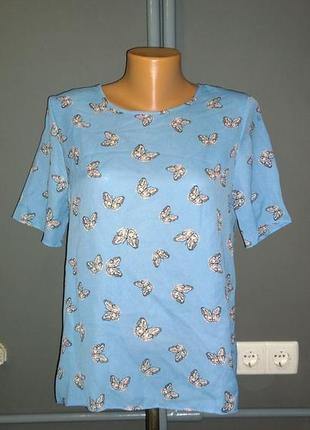 Блуза кофточка прямого кроя с бабочками1
