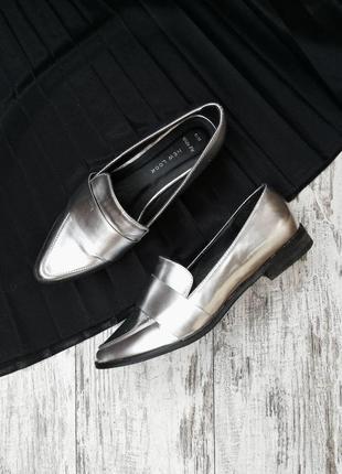 Лоферы серебистые, балетки, туфли на низком каблуке