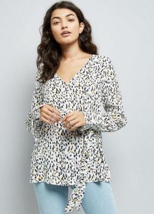 Распродажа! стильная блуза из вискозы на запах, рубашка с завязками