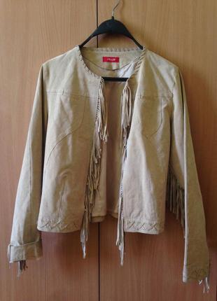 Стильная замшевая куртка с бахромой