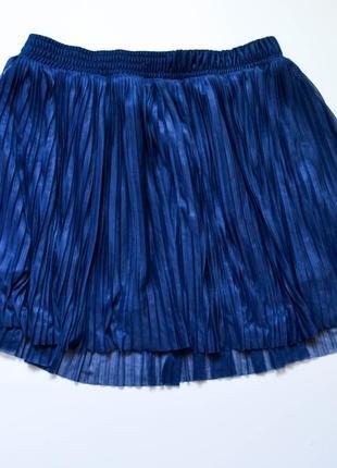 Модная короткая шифоновая плиссированная юбка синего цвета