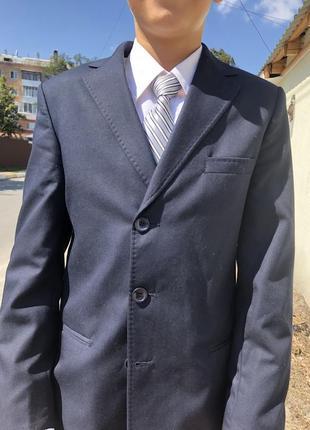Школьный, чёрный, шерстяной костюм для мальчика 12-15 лет