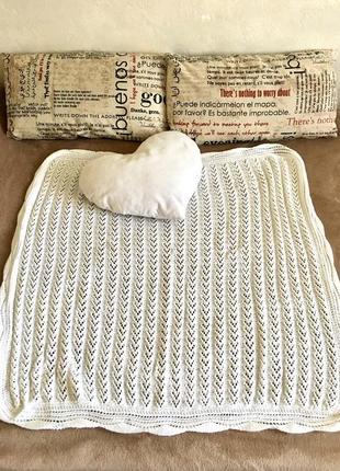 Белоснежный плед в детскую кроватку /коляску ручной работы ❤️