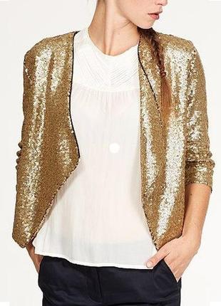 Пиджак блейзер в золотые пайетки