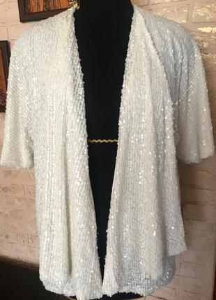 Пиджак блейзер в белые пайетки