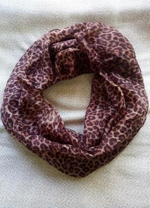 Леопардовый шелковый шарф