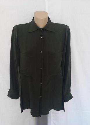 Роскошная блузка, рубашка,100%шелк, оригинальный дизайн, карманы modissa