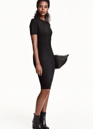 Хаки h&m трикотажное платье, s6 фото