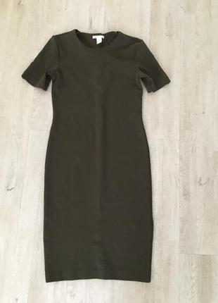 Хаки h&m трикотажное платье, s4 фото