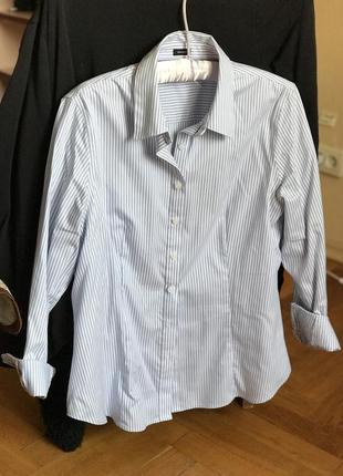 Офисная женская белая рубашка в полоску