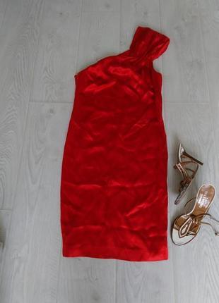 Шелковое платье/сарафан на одно плече zara