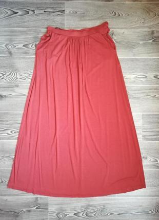 Длинная вискозная ( трикотажная юбка ) 14 размера , длина -  100 см