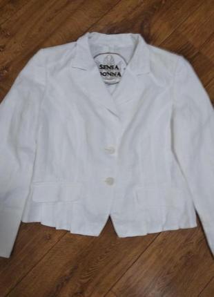 Женственный льняной белоснежный пиджак sensa donna .