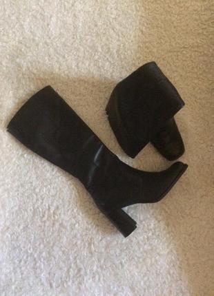 Высокие кожаные сапоги чулки на блочном каблуке  george