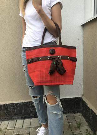 Новая,красная,романтическая,соломенная,летняя,пляжная,шоппер сумка с бантом