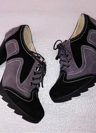 Туфли ботинки броги оксфорды черевики полусапожки на осень тракторная подошва каблук