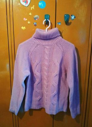 Розовый вязанный свитер с горловиной от zara