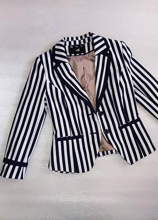 Пиджак жакет кофта в полоску на пуговицах короткий тёплый