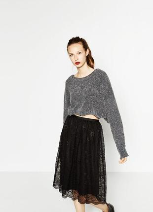 Кружевная юбка миди от zara