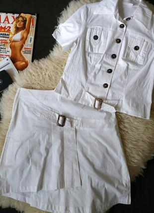 Новый котоновый костюм с асимметричной юбкой1 фото
