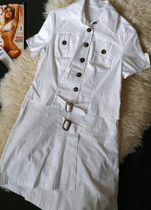 Новый котоновый костюм с асимметричной юбкой2 фото