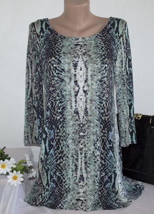 Брендовая разноцветная удлиненная блуза с рукавом 3/4 m&s турция вискоза принт змея