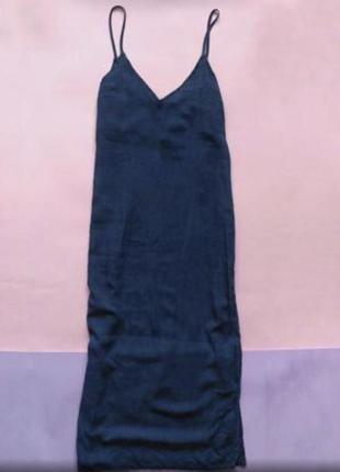 Джинсовое платье миди в бельевом стиле