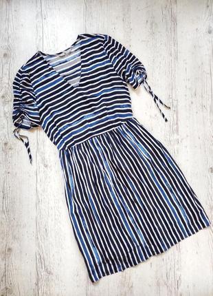 Стильное миди платье в полоску