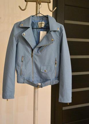 """Стильна курточка косуха (шкірзам) бірюзового кольору, """"glo-story"""", розмір l"""