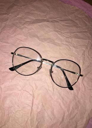 Круглые металлические имиджевые очки ретро оправа