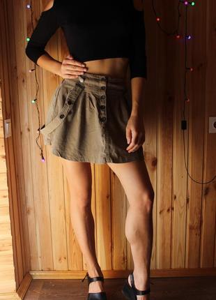 Крутая вельветовая мини-юбка на бретелях