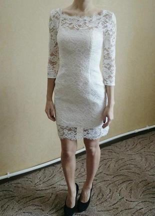 Ажурное короткое белое платье свадебное или выпускное