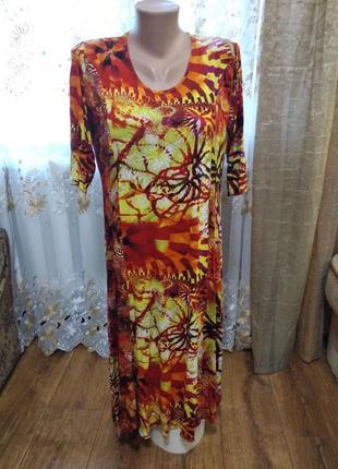 Вискозное яркое платье 16-18 размера.