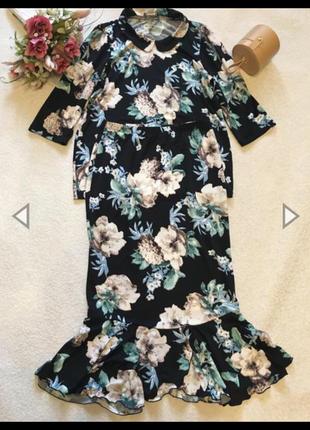 Костюм юбка с воланом рюшей годе цветочный принт