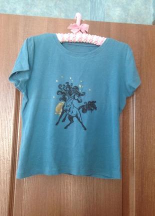 Синяя футболка с лошадью от cherokee р.14 xl. лучшая цена!
