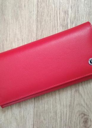 Женский кошелек красного цвета (кожа)