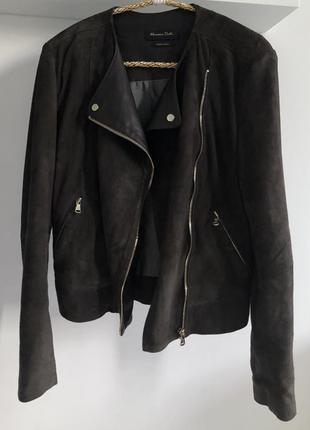Замшевая кожаная куртка massimo dutti