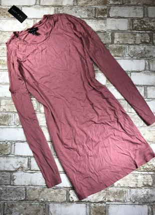 Стильное трикотажное платье футболка с открытым плечом, туника оверсайз