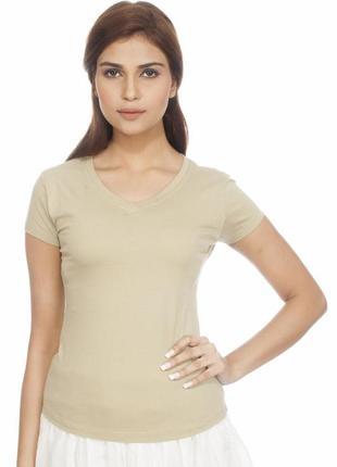Бежевая футболка от marks&spencer, размер s-m