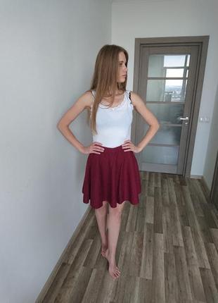 Бордовая теплая юбка