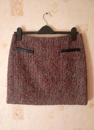 Теплая юбка мини трапеция букле люрикс george