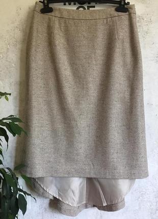 Элегантная шерстяная юбка с ассиметричным подолом/шлейфом