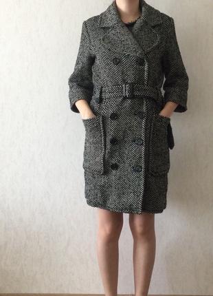 Шерстяное пальто с укорочёнными рукавами