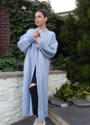 Вязаный женский объёмный длинный кардиган из мохера oversize