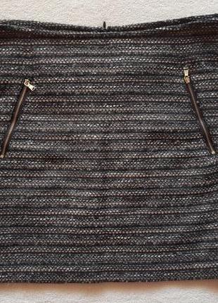 Юбка в полоску ткань букле с карманами на замочках