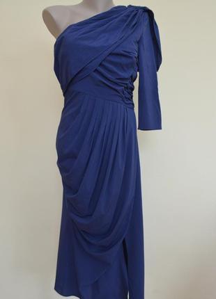 Шикарное нарядное вечернее платье с одним рукавом