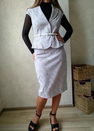 Шикарный костюм пиджак юбка карандаш жакет с баской