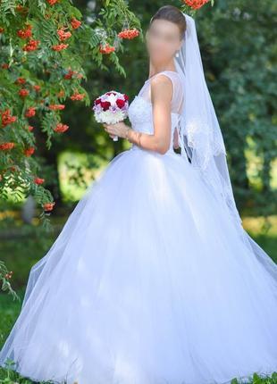 Свадебное платье + кольца (подъюбник) в подарок. торг.