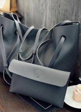 Комплект сумка большая шоппер + клатч