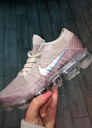 Nike voparmax трендовые пудровые спортивные кроссовки на прозрачной подошве